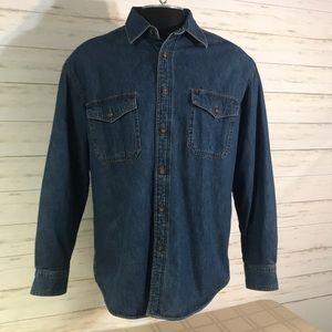 EUC! St John's Bay Fleece Lined Denim Shirt Sz Med